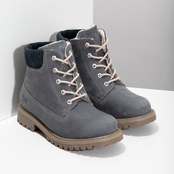 Kožená detská členková obuv weinbrenner-junior, modrá, 416-9608 - 26
