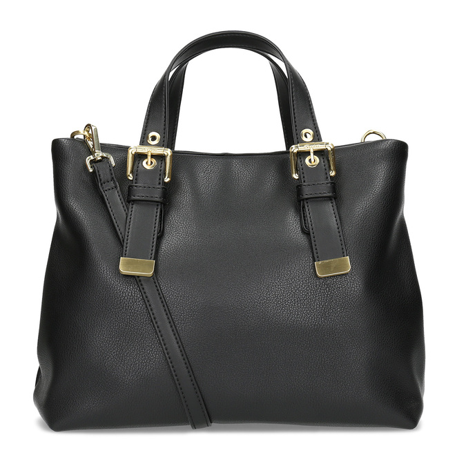 Čierna kabelka so zlatými sponami bata, čierna, 961-6886 - 16