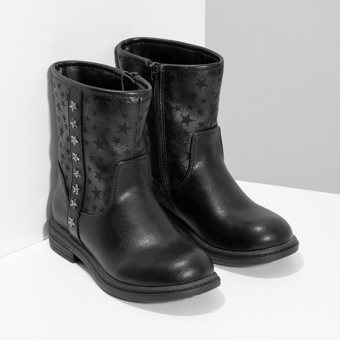 Dievčenské zateplené čižmy s hviezdičkami mini-b, čierna, 291-6173 - 26