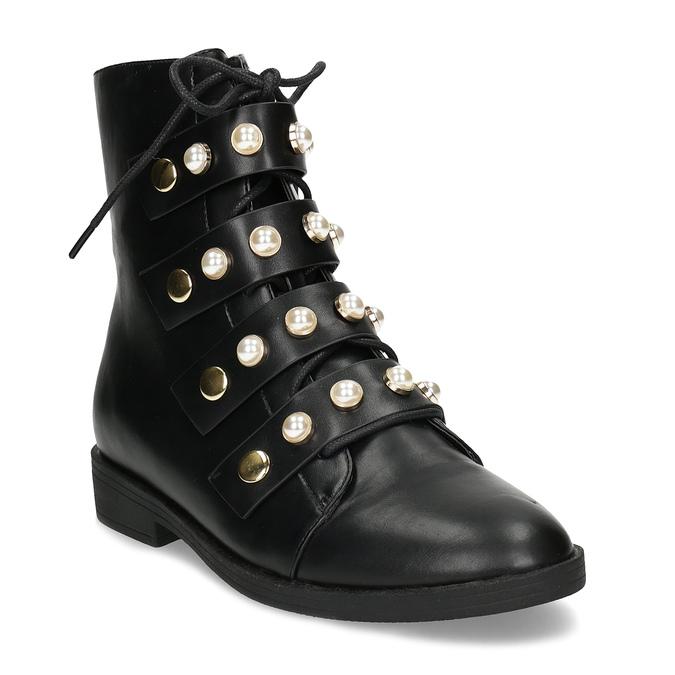 Vysoká členková obuv s perličkami bata, čierna, 591-6634 - 13