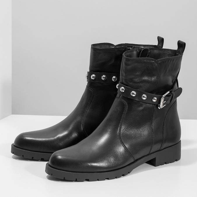 Čierna kožená členková obuv s kovovými cvočkami bata, čierna, 594-6671 - 16