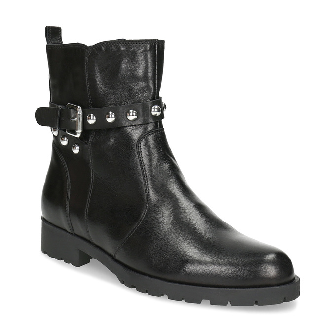 Čierna kožená členková obuv s kovovými cvočkami bata, čierna, 594-6671 - 13