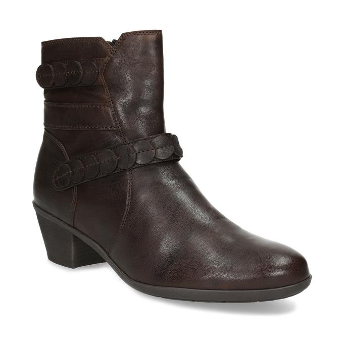 Hnedá kožená obuv s prešitím gabor, hnedá, 616-4123 - 13