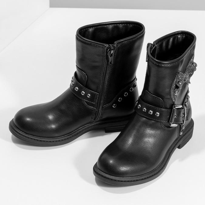 Detské čierne čižmy s mašľou mini-b, čierna, 291-6132 - 16