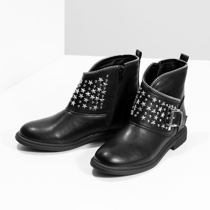 Dievčenské členkové čižmy s hviezdičkami mini-b, čierna, 391-6264 - 16