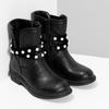 Dievčenské zateplené čižmy s perličkami mini-b, čierna, 291-6111 - 26