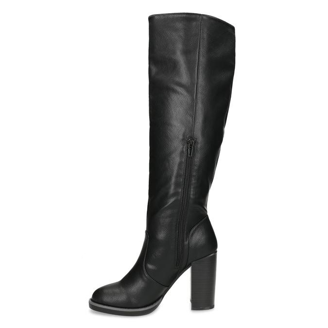 Čierne dámske čižmy na stabilnom podpätku insolia, čierna, 791-6617 - 17