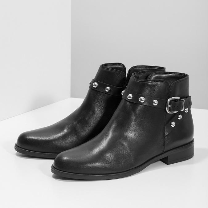 Kožená členková obuv s kovovými cvočkami bata, čierna, 594-6668 - 16
