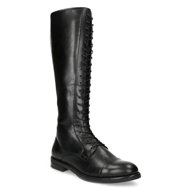 Kožené čierne čižmy s vysokým šnurovaním vagabond, čierna, 594-6007 - 13