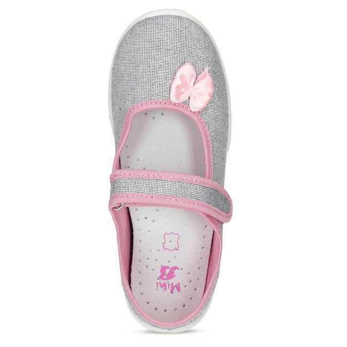 Detská domáca obuv s mašličkou mini-b, strieborná, 379-1314 - 17