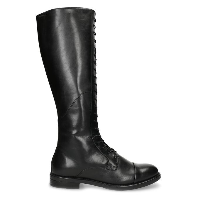 Kožené čierne čižmy s vysokým šnurovaním vagabond, čierna, 594-6007 - 19