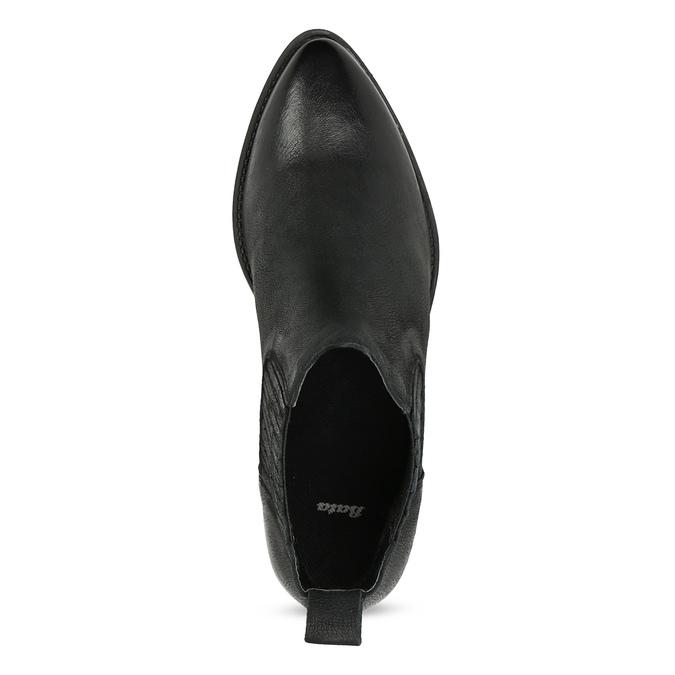 Dámska kožená členková obuv s pružením bata, čierna, 596-6969 - 17