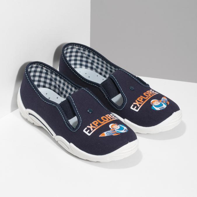 Detská domáca obuv s motívom rakety mini-b, modrá, 379-9219 - 26