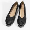 Kožené čierne lodičky na nízkom klinku comfit, čierna, 626-6651 - 16