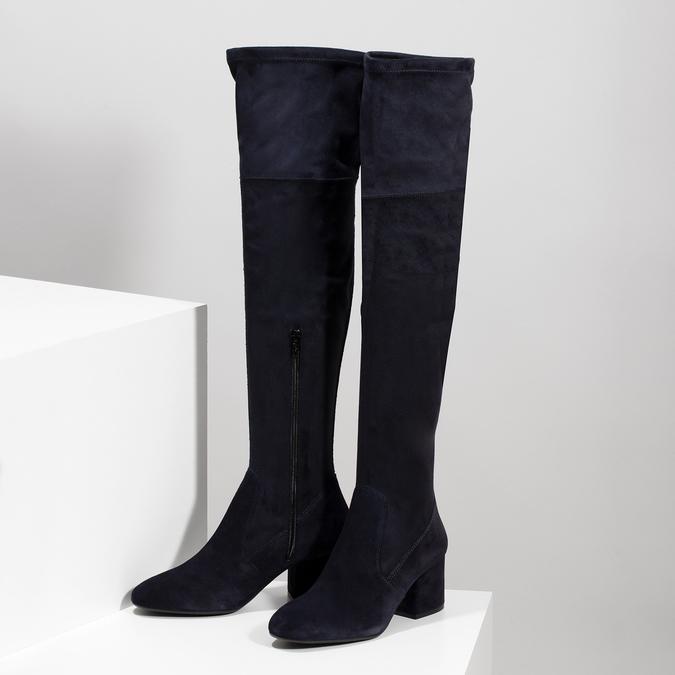 Modré dámske čižmy nad kolená bata, modrá, 793-9614 - 16