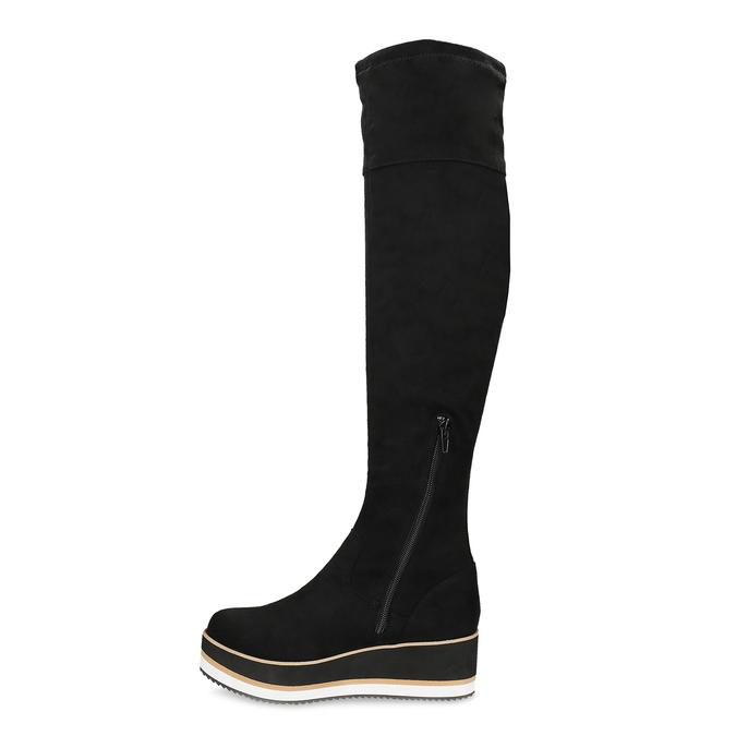 Čierne dámske čižmy na flatforme bata, čierna, 699-6639 - 17