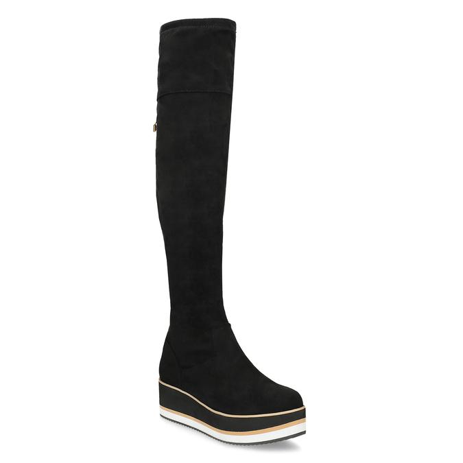 Čierne dámske čižmy na flatforme bata, čierna, 699-6639 - 13