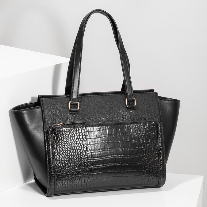 Čierna kabelka s hadím vzorom bata-red-label, čierna, 961-6901 - 17