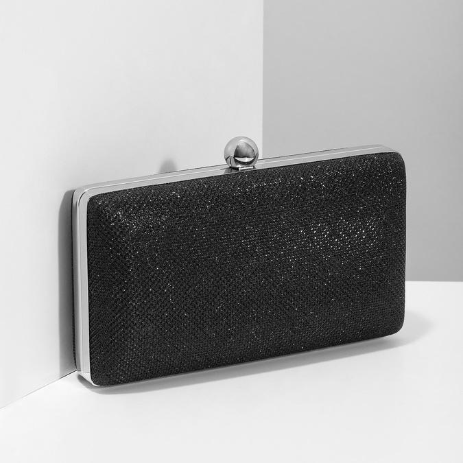 Čierna trblietavá listová kabelka bata, čierna, 969-6702 - 17