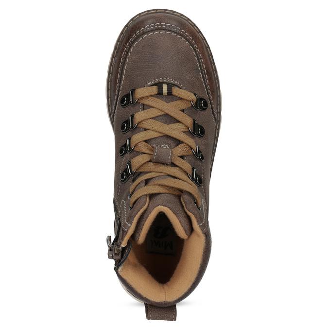 Hnedá detská členková obuv na zips mini-b, hnedá, 311-4614 - 17