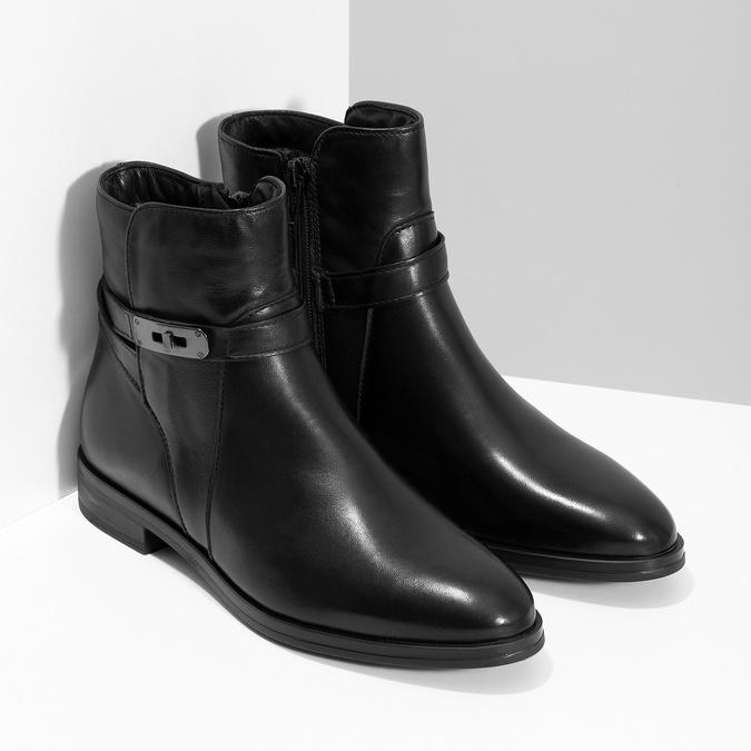 Dámske kožené čižmy s prackou bata, čierna, 594-6672 - 26