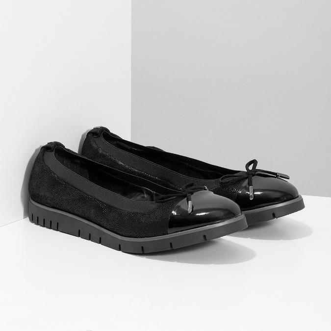 Dámske kožené čierne baleríny flexible, čierna, 526-6663 - 26