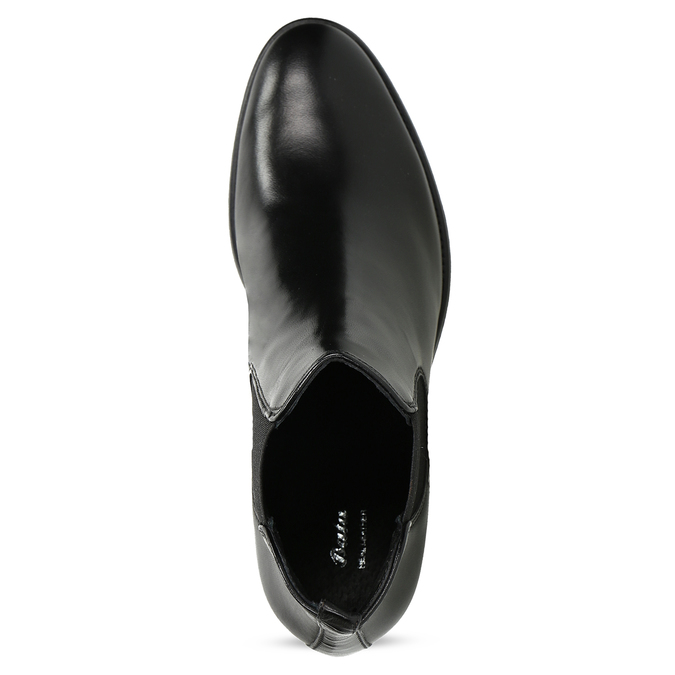 Kožené dámske Chelsea na podpätku bata, čierna, 694-6667 - 17