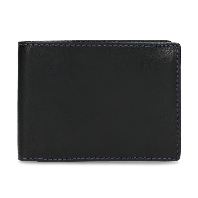 Kožená peňaženka s modrým prešitím bata, čierna, 944-6218 - 26
