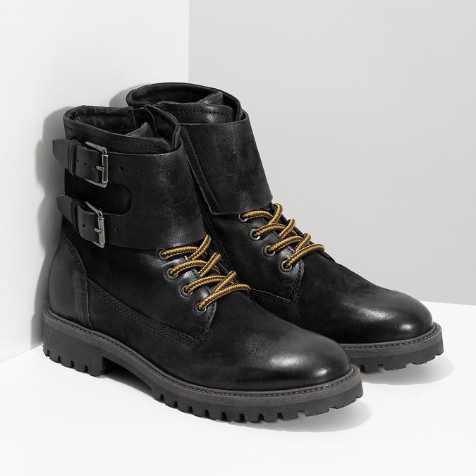 Pánska kožená zimná čierna obuv bata, čierna, 896-6735 - 26