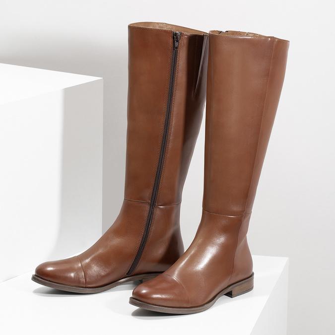 Hnedé kožené čižmy bata, hnedá, 594-4637 - 16