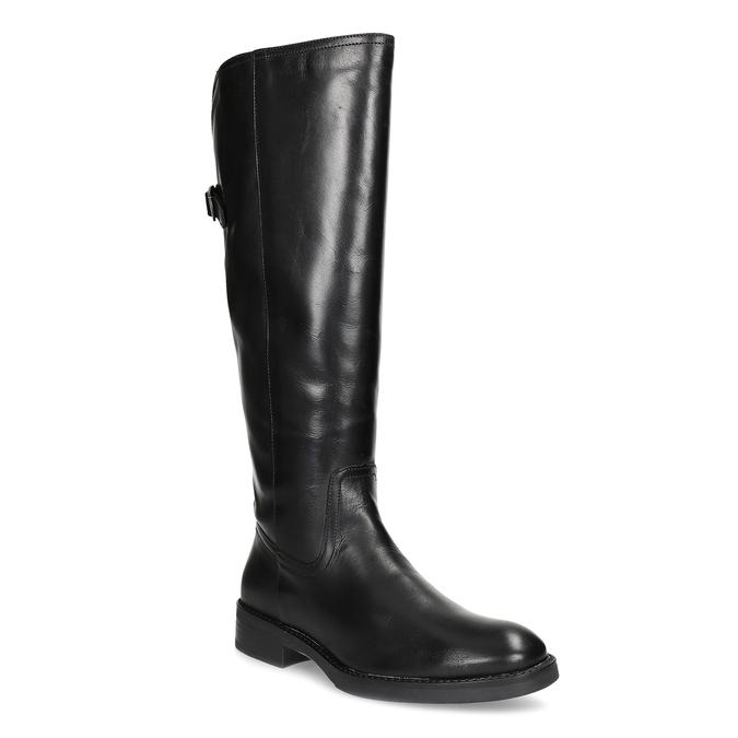 Kožené čierne čižmy s prackou bata, čierna, 594-6678 - 13