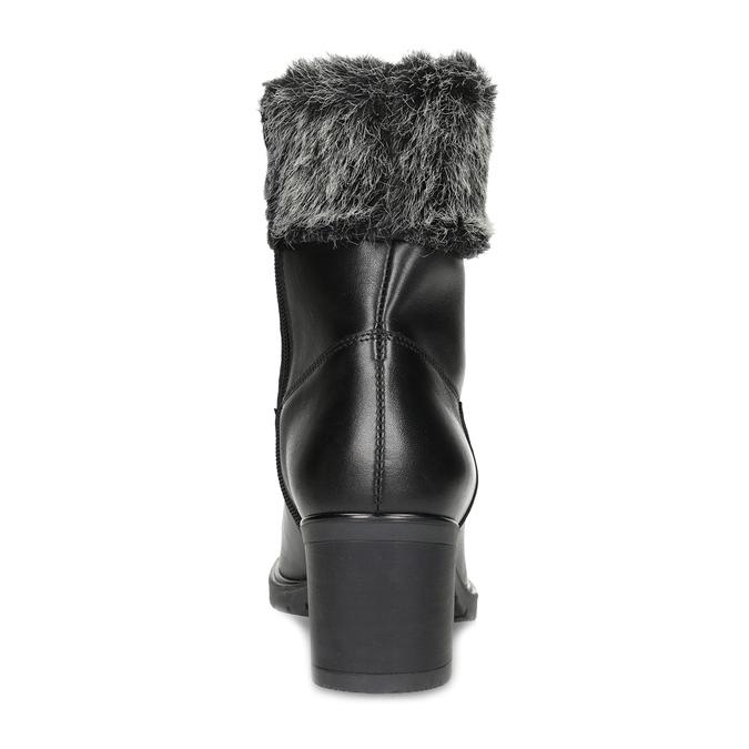 Kožené členkové čižmy s kožúškom bata, čierna, 696-6658 - 15