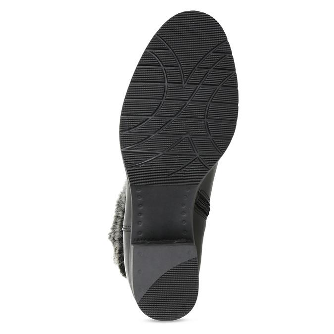 Kožené členkové čižmy s kožúškom bata, čierna, 696-6658 - 18