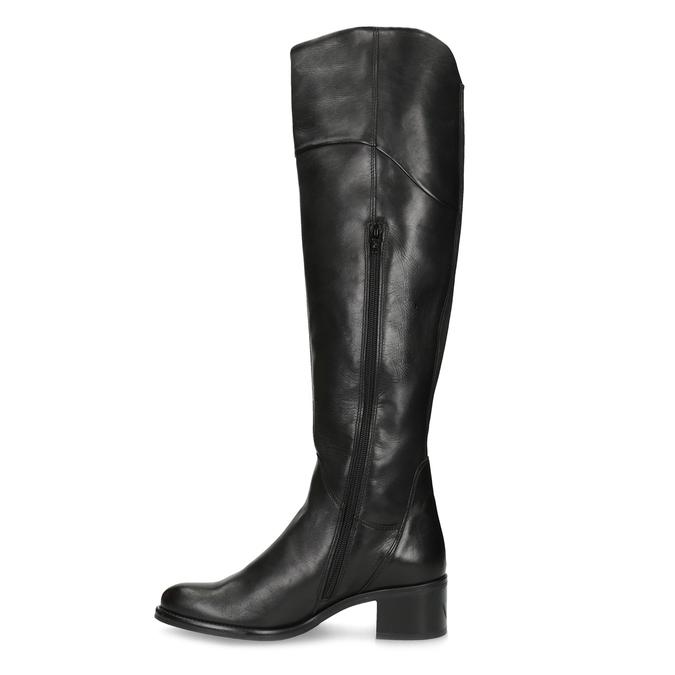 Kožené čierne čižmy nad kolená bata, čierna, 694-6666 - 17