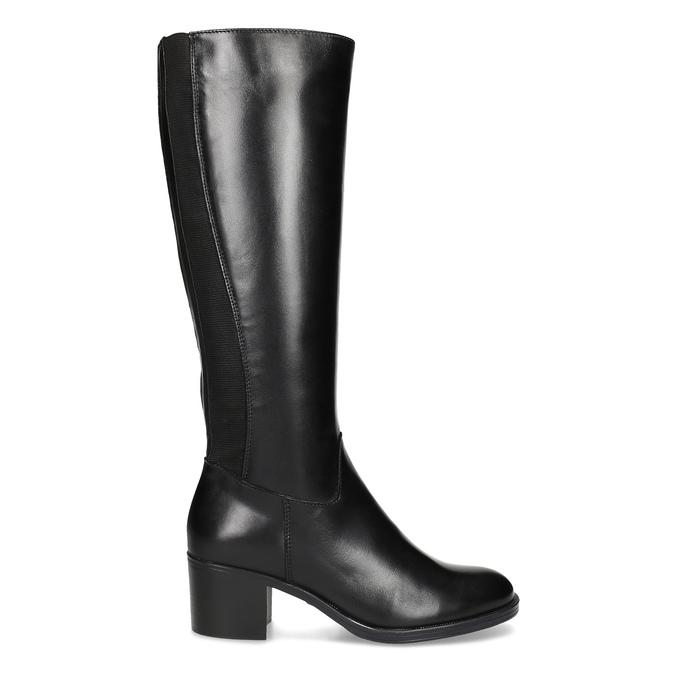 Kožené čierne čižmy na stabilnom podpätku bata, čierna, 694-6668 - 19
