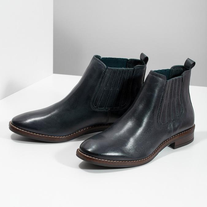 Modrá kožená dámska obuv v Chelsea štýle bata, modrá, 594-9682 - 16