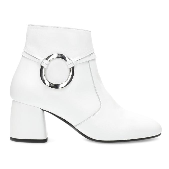 Biela kožená členková obuv s prackou bata, biela, 694-1673 - 19