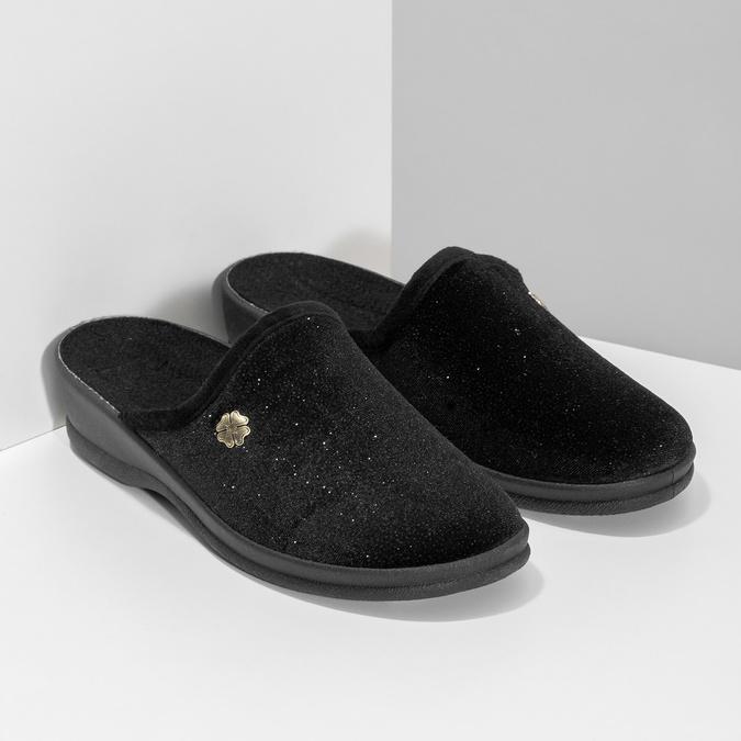 Dámske domáce čierne nazuváky bata, čierna, 579-6631 - 26