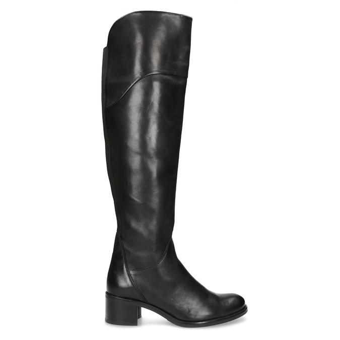 Kožené čierne čižmy nad kolená bata, čierna, 694-6666 - 19
