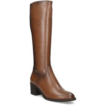 Hnedé dámske kožené čižmy bata, hnedá, 694-4668 - 13