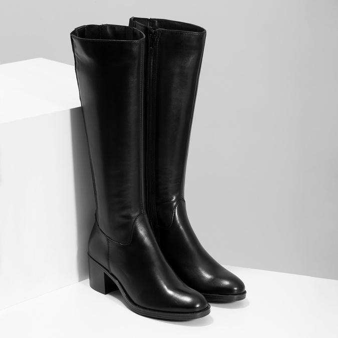 Kožené čierne čižmy na stabilnom podpätku bata, čierna, 694-6668 - 26