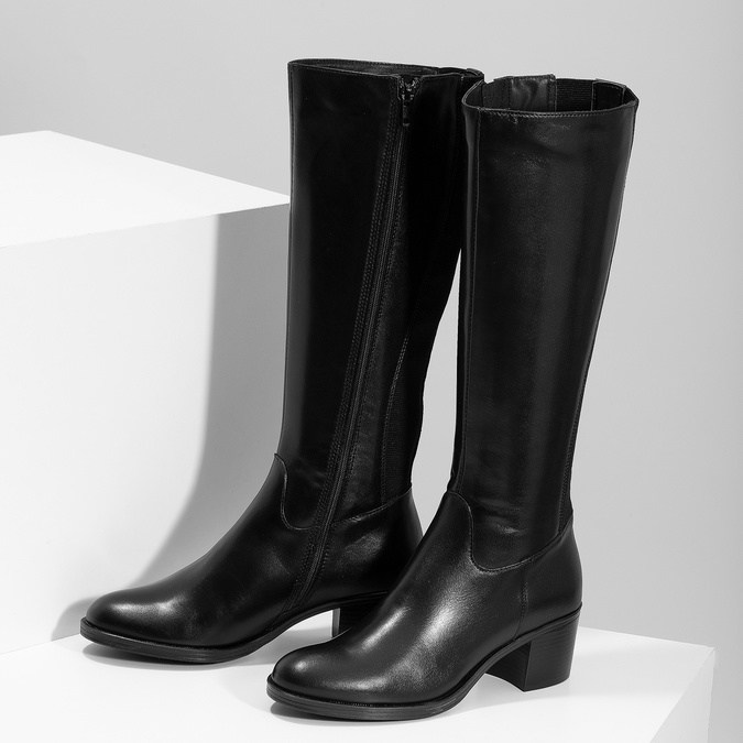 Kožené čierne čižmy na stabilnom podpätku bata, čierna, 694-6668 - 16