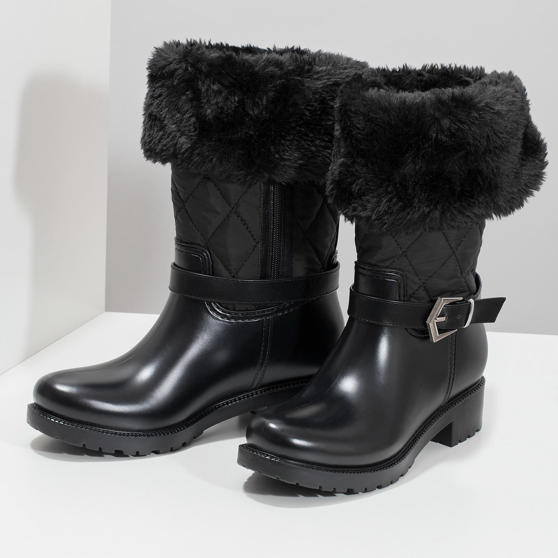41f5ee23962ec ... Dámske čierne snehule s kožúškom bata, čierna, 592-6602 - 16 ...