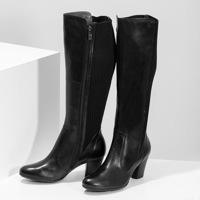Kožené čierne dámske čižmy s úpletom, čierna, 696-6657 - 16