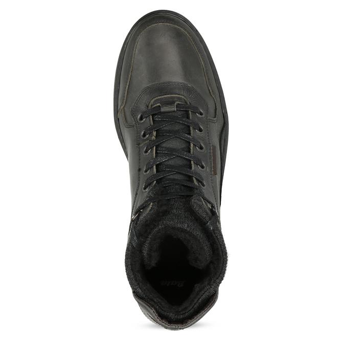 Čierna pánska kožená členková obuv bata, čierna, 896-6712 - 17