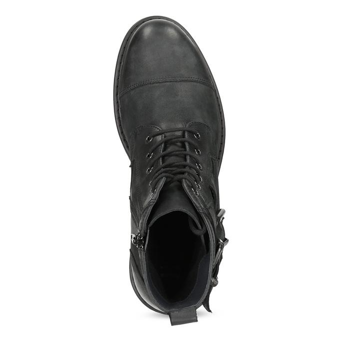 Kožená pánska členková obuv s prackami bata, čierna, 896-6715 - 17