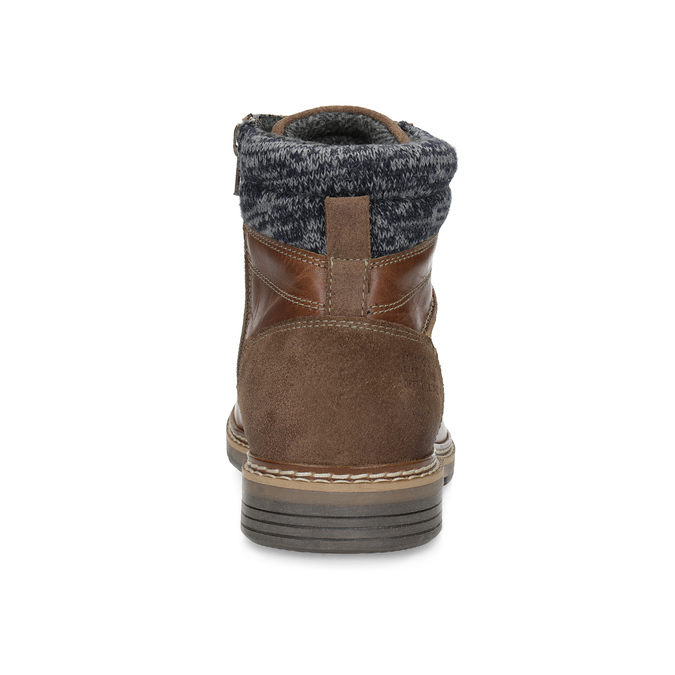 Kožená hnedá pánska členková obuv bata, hnedá, 896-3713 - 15