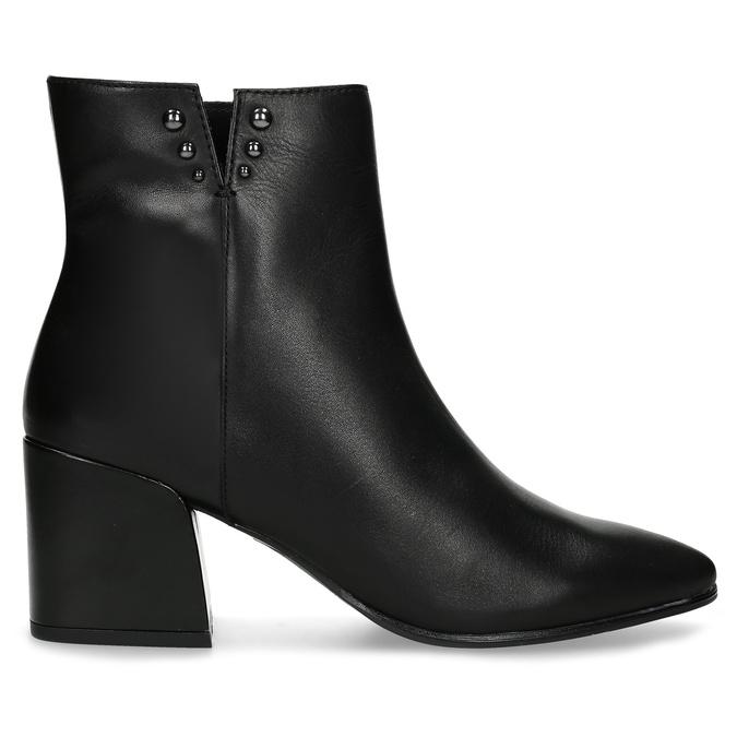 Čierna členková kožená obuv na podpätku bata, čierna, 794-6658 - 19