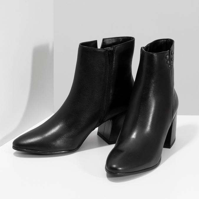 Čierna členková kožená obuv na podpätku bata, čierna, 794-6658 - 16