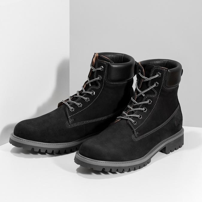 Pánska kožená členková obuv s prešitím weinbrenner, čierna, 896-6733 - 16